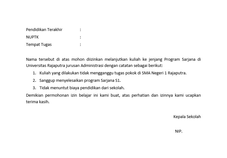 contoh surat izin kuliah